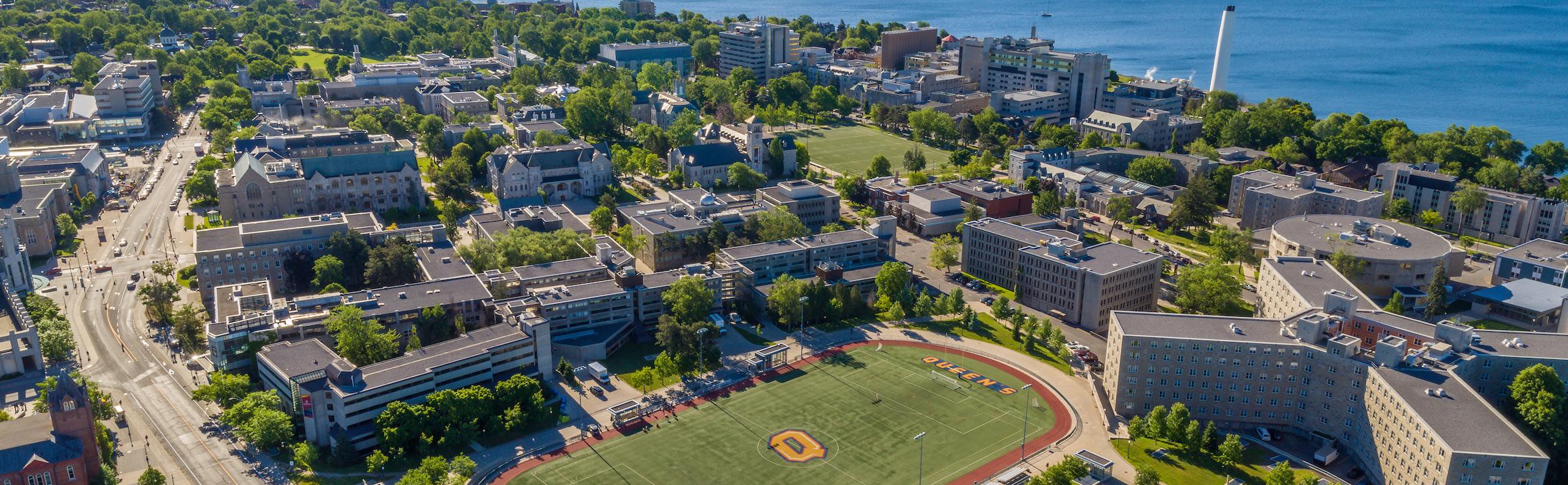 Queen's campus aerial shot