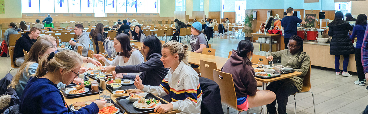 [students in Leonard Dining Hall]