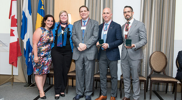 2017 Stirling award winners, Gregory J. David and Neil G. Rossy with Daniel Woolf and members of the Montreal Branch.