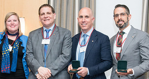 2016 Stirling award winners with Principal, Daniel Woolf