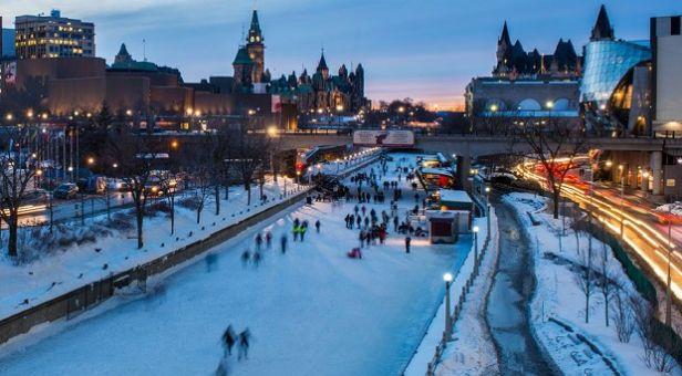 Ottawa winter scene of the rideau canal