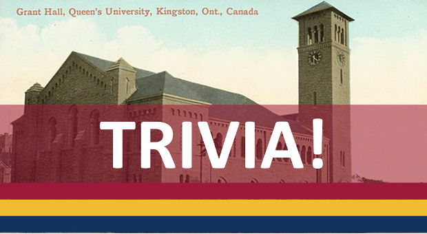Trivia Graphic over vintage photo of Grant Hall