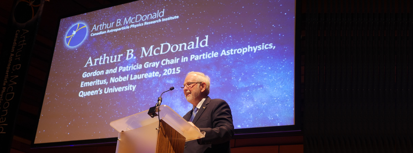 Arthur B. McDonald speaks at the launch ceremony.