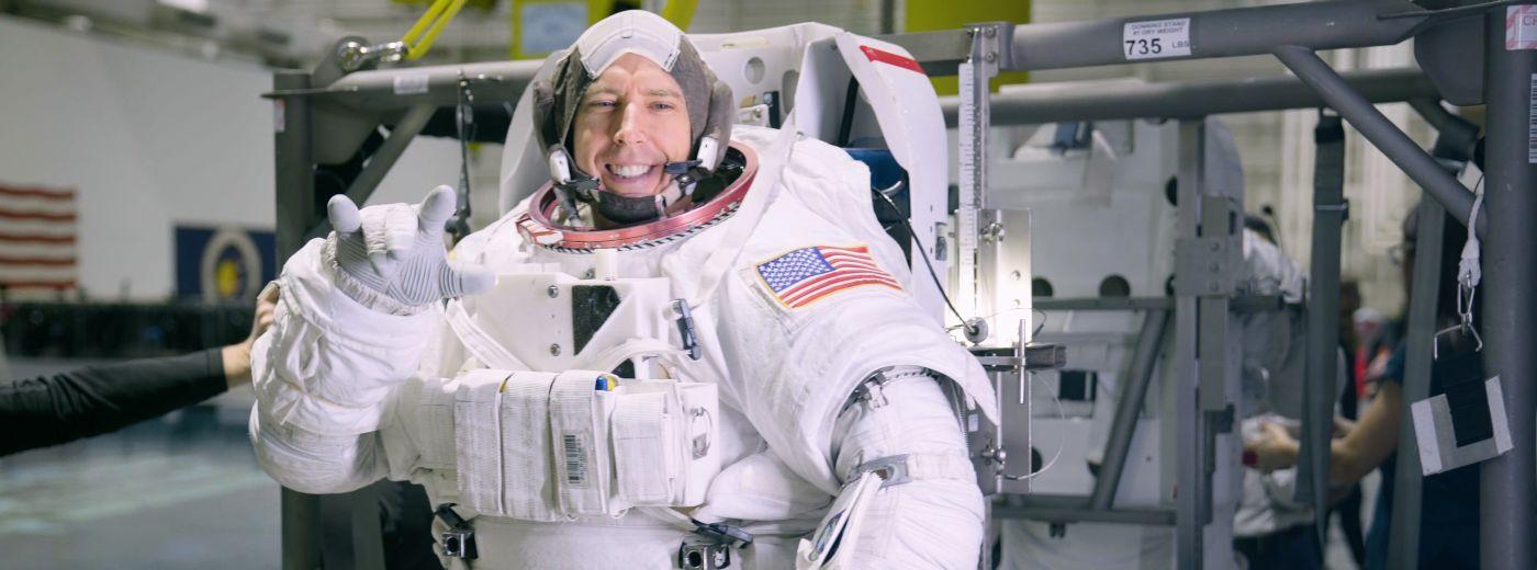 Dr. Drew Feustel in his spacesuit