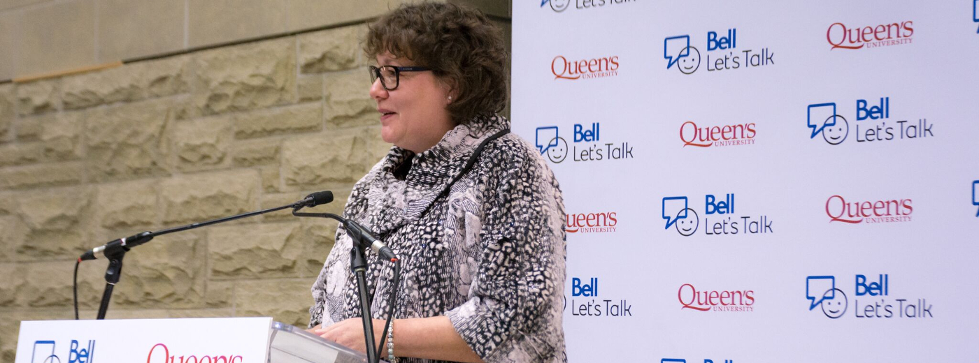 Dr Heather Stuart speaking at the Bell Let's Talk Launch Event