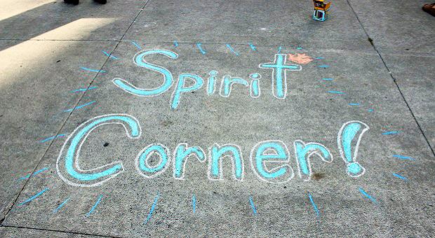 """[""""Spirit Corner"""" in sidewalk chalk]"""