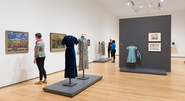[Installation view from Stepping Out: Clothes for a Gallery Goer]