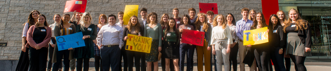 Student scholarship winners in front of the Agnes Etherington Art Centre