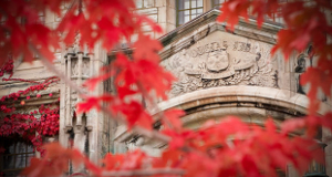 Red leaves and Douglas Library
