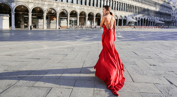 model in red dress shot by justin wu