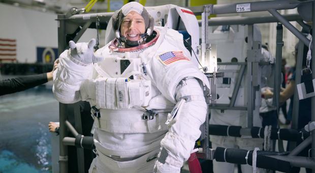 Drew feustel in NASA suit