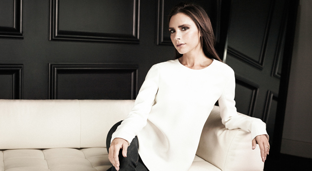 victoria beckham reclining in photo by justin wu