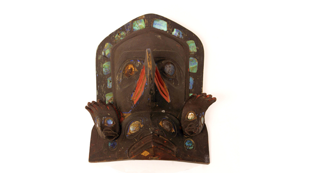 Indigenous frontlet mask made of wood, pain, abalone shell, metal and hide