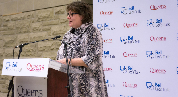 Dr Heather Stuart addresses students at Bell Let's Talk funding announcement