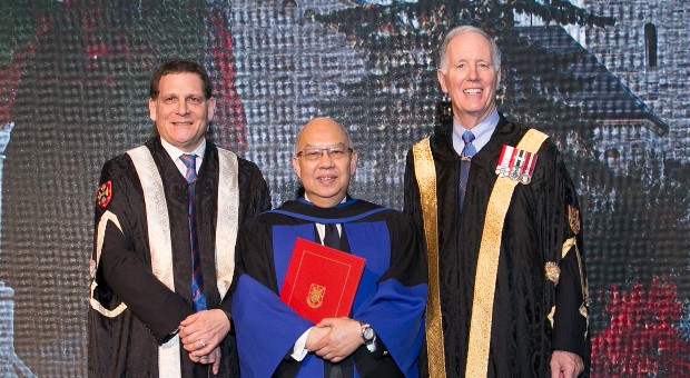 Principal Daniel Woolf, Justice Kin Kee Pang, Arts'70 and Chancellor Jim Leech