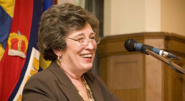 Karen Hitchcock speaks at a reception