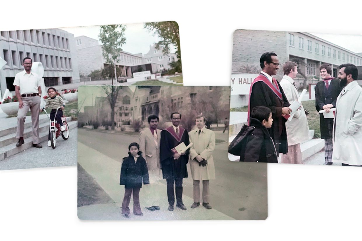 Photos of Jyothish Daniel and his father, the late Dr. V. David Jayakar Daniel, MSc'71, PhD'74, in the early 1970s.