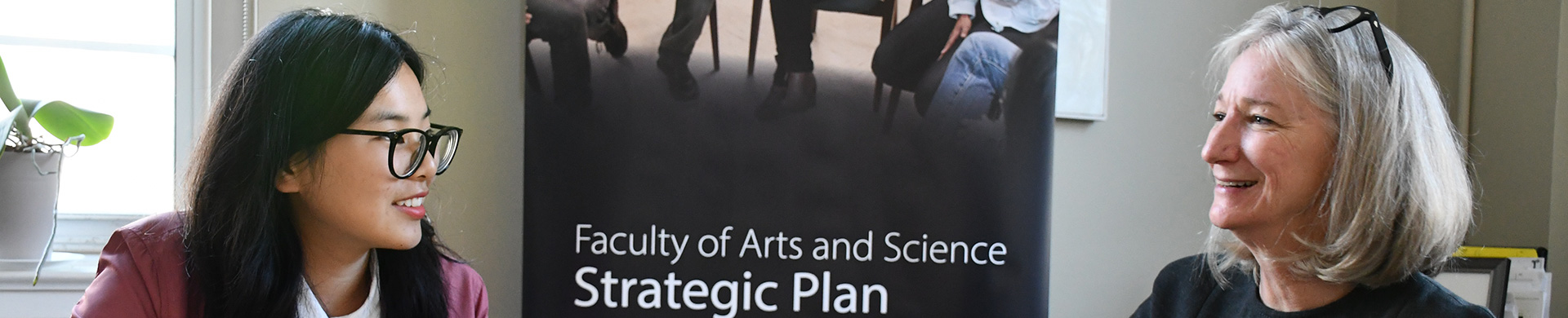 Student Kate Li and Arts Sci Dean Crow discussing the Strategic Plan