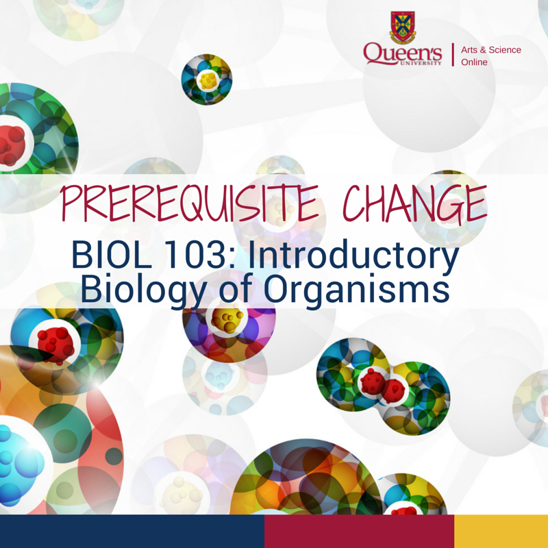 E-poster announcing change in the prerequisite for Biology 103 course. Background of poster is an abstract image of cell division.