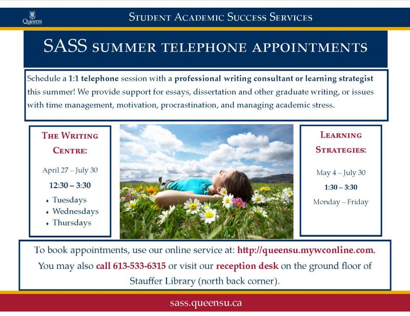 E-poster advertising the summer office hours of Queen's Student Academic Success Services offices.