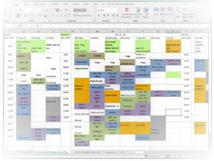 Example of visual task schedule for online students
