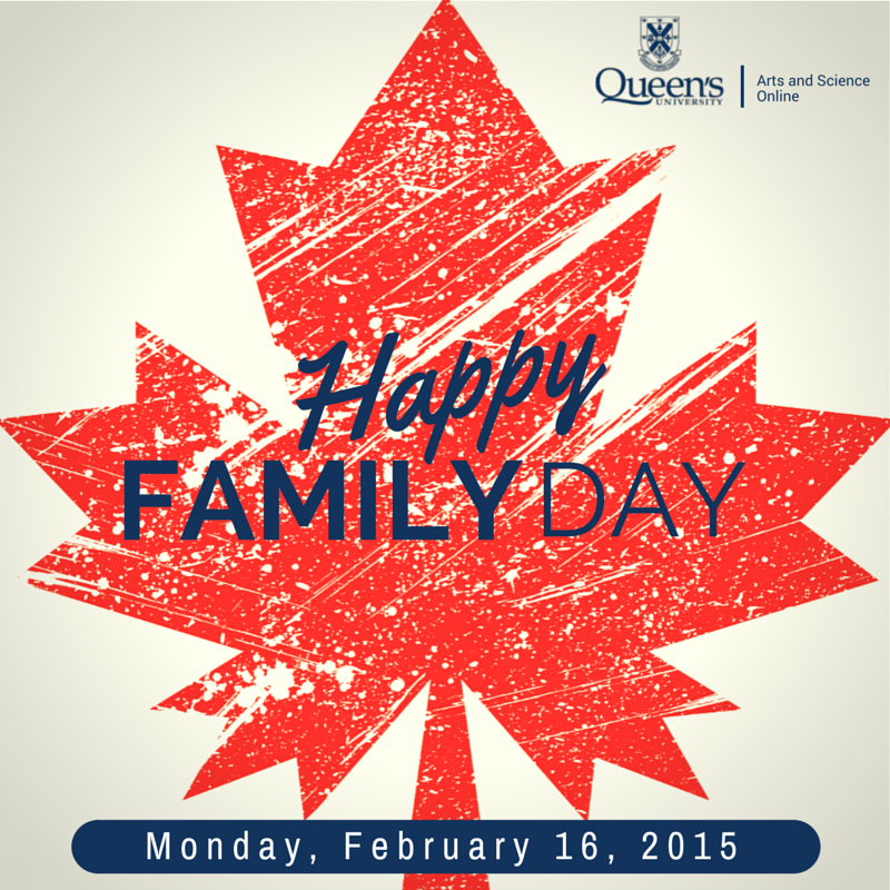 E-poster of a red maple leaf wishing the reader a happy family day on Monday, February 16.