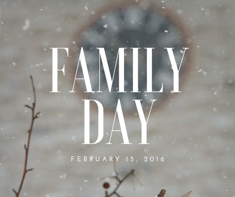 Family Day 2016 in Ontario falls on February 15