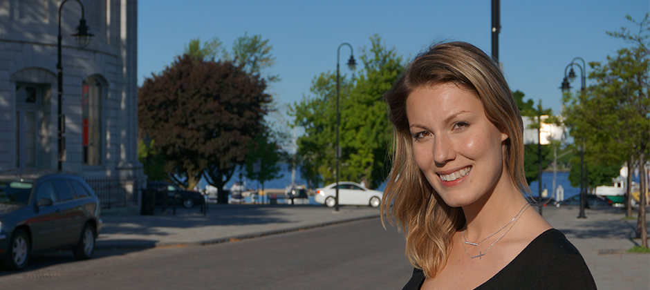 Queen's alum Victoria Ross. Picture taken downtown Kingston, Ontario.