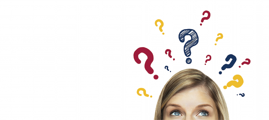 Woman with Question Marks around her