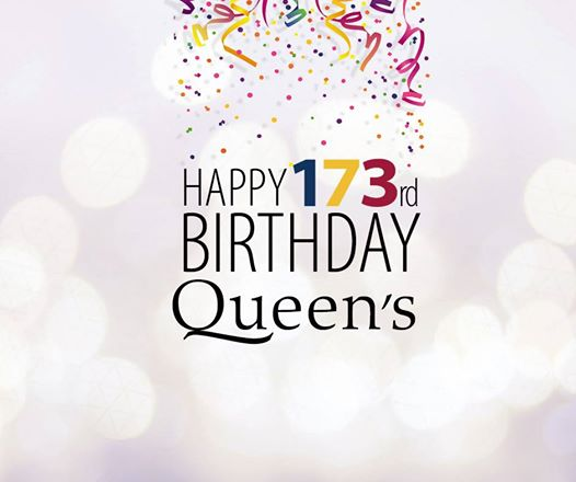 Image of confetti being tossed over the following sentence: Happy 173rd Birthday Queen's