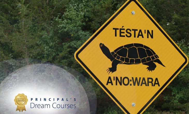 Turtle crossing sign and principal's dream course graphic
