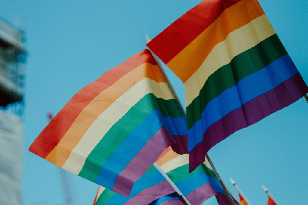 Image of two Pride flags waiving