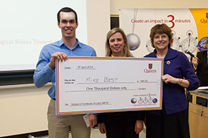 Queen's 3MT 2014 Winner Mike Best with Associate Deans Sandra den Otter and Kim McAuley