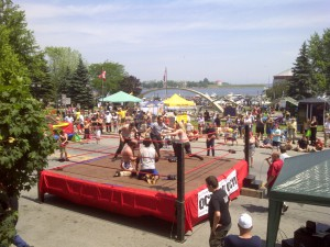Amateur wrestling by the water... fun for the whole family?