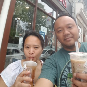 Sipping on bubble tea while walking on Princess St