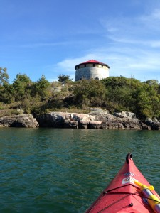 Kayaking to Cedar Island (with Martello Tower on top)