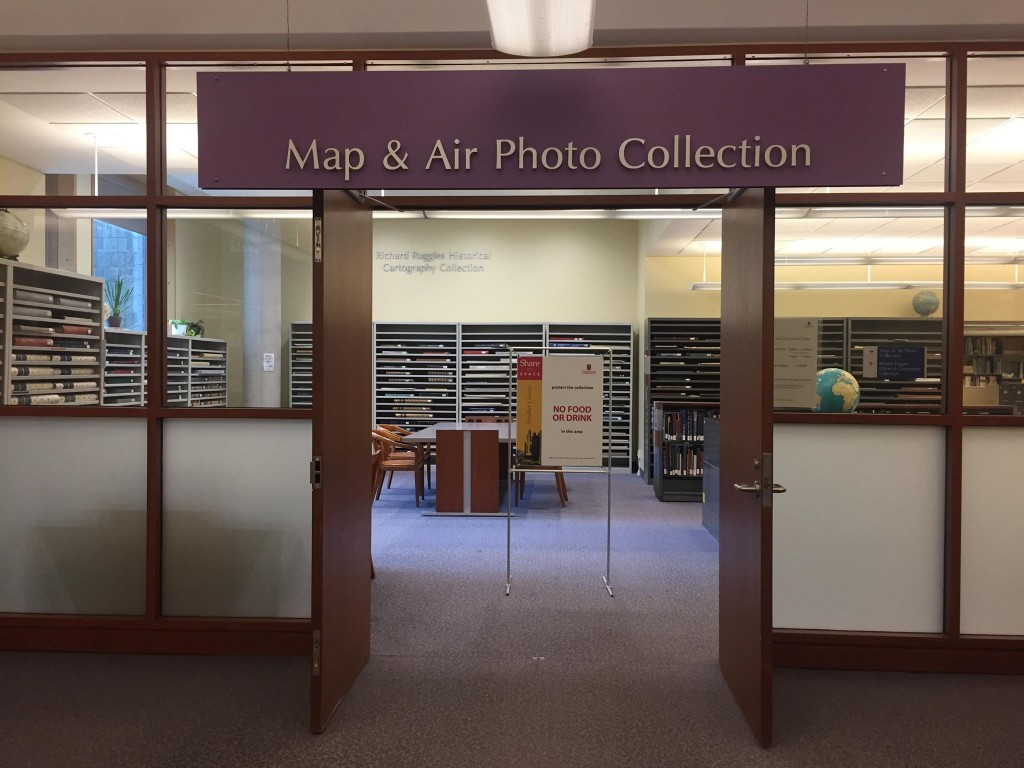 Map collection in the basement of Stauffer Library