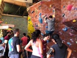 SGPS members at a bouldering event at the Kingston Bouldering Co-op this summer