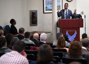 The Air Force's Director of Budget Investment Carlos Rodgers addresses attendees at the American Society of Military Comptrollers' Regional Professional Development Institute event at Hanscom Air Force Base, Mass., Nov. 15. Rodgers was the keynote speaker and provided an update on the fiscal year 2018 budget, spoke about elements of successful programs and also his top lessons learned in weapon system acquisition. (U.S. Air Force photo by Linda LaBonte Britt)