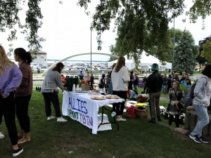 "The snack and beverage table with a sign reading ""Allies support TBTN"""