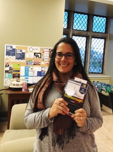 Sara Ali holding her copy of Scarborough at Monday's Book Club evening