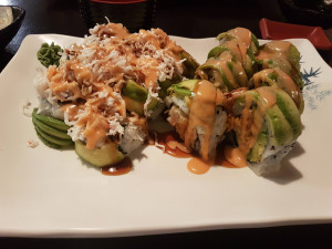 White Green Dragon Roll and Green Dragon Roll