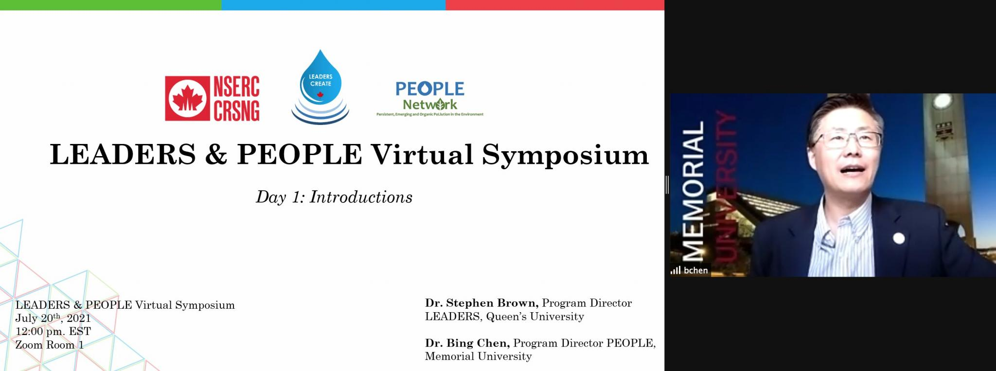 Dr. Bing Chen, Director of the PEOPLE Network welcomes attendees to the 2021 LEADERS & PEOPLE Symposium
