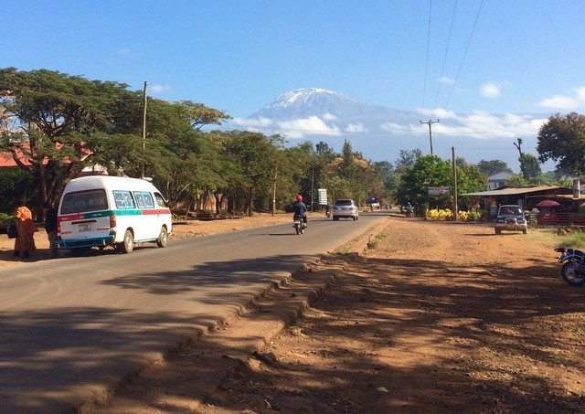 A view of Mount Kilimanjaro from the main road in Moshi, Tanzania. (Photo credit: Hanna Chidwick)