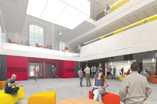 Architect's rendering of the inside of the Innovation and Wellness Centre