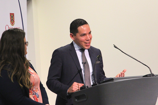 Mr. Obed discusses current issues with attendees during the Q&A portion of the lecture, moderated by Sarah Toole (left, MPA'18). (Photo: University Communications)