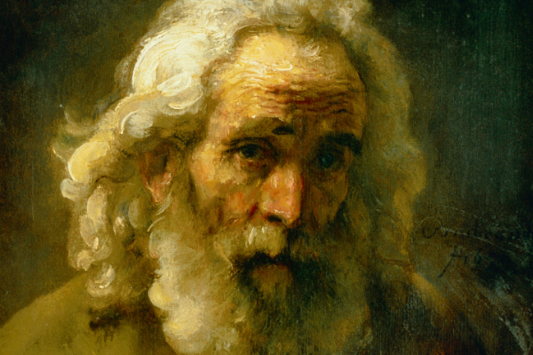 "Rembrandt's ""Head of an Old Man with Curly Hair""."