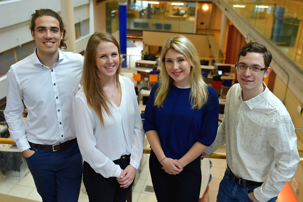 The ClimaCube team, from L-R: James Hantho (Comm'18), Leigh-Ann McKnight (Sc'18), Karina Bland (Sc'18), and Mitch Sadler (Sc'18). (University Communications)