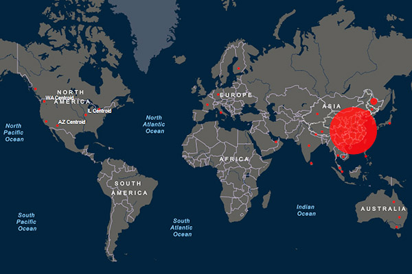 Visual of the outbreak on a world map captured from the John Hopkins CSSE tracking dashboard.