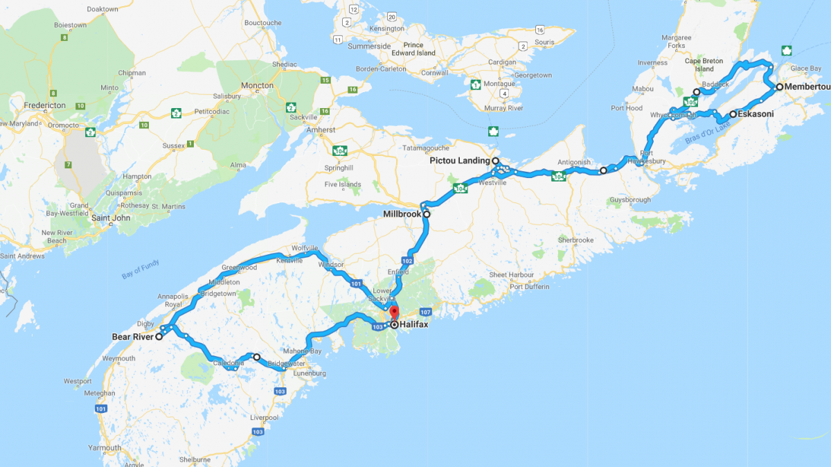 [Google Maps screenshot of the students' route through Nova Scotia]
